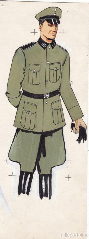 * WWII ORIGINAL MILITARY SKETCH - Army Uniforms - German Soldier, SS