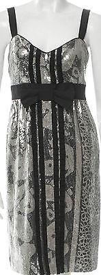 Diane Von Furstenberg Ariba Silver Sequin Runway Dress Sz 8   Nwot Rt  1 2K