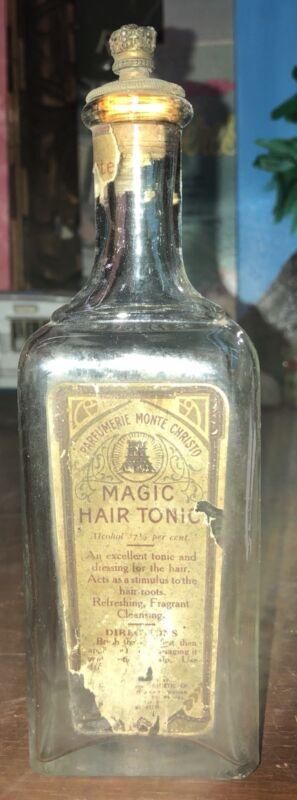 RARE MONTE CRISTO PARFUMERIE BOTTLE MAGIC HAIR TONIC BARBER SHOP L SHAW ORIGINAL