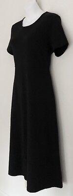 LL BEAN Women's Dress Sz PS Jersey Supima Cotton Black Stretch Short Sleeve