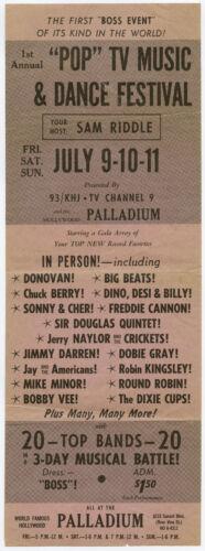 CHUCK BERRY Sonny & Cher DONOVAN Bobby Vee Original 1965 FESTIVAL Concert Poster