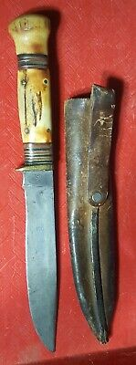 MARBLE KNIFE MSA STAG ON STAG 4 PIN Vtg antique Fixed Blade w/TUBE Sheath
