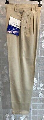 Vtg Lizsport Womens High Waisted Cotton Pleated Khaki Pants Petite 4 NEW w/ Tags