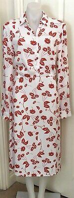 HI THERE from KAREN WALKER Dress 10 White Brown Floral Long Sleeved Midi BNWT