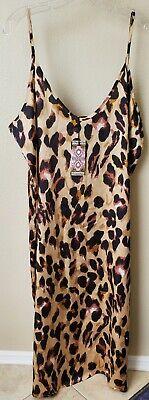 BOOHOO Plus Libby Leopard Print Tank Dress  NWT  US 14