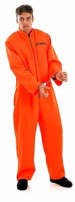 ADULT MENS PRISONER COSTUME ORANGE DEATH ROW FANCY DRESS HALLOWEEN OUTFIT NEW