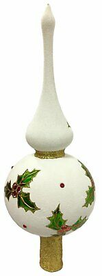 White Glitter Holly Finial Polish Glass Christmas Tree Topper Made in Poland