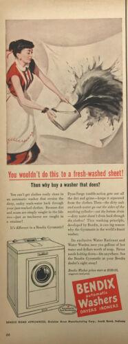Bendix Washers Magazine Print Ad Vintage Household Appliances Original 1951