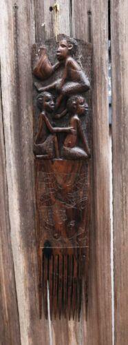 """An Excellent Makonde East African Art-Market Ebony Comb c. 1962 - 21"""" x 3 3/4"""""""