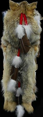Native American Navajo Full Coyote Medicine Man Shaman Headdress Head & tails