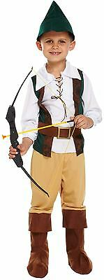 Costume Robin Hood (Boys Hunter Robin Hood Fancy Dress Childs Dressing Up World Book Day Costume)