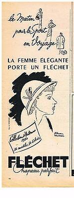 Publicite adverstising  1950   flechet  chapeau