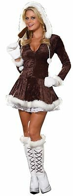 Eskimo Cutie Pie Adult Costume Womens Sexy Snow Dress Brown Winter Womens Cutie Pie
