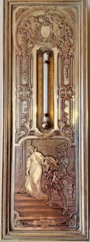 ANTIQUE COPPER THERMOMETER ENGRAVED B.Wichek CR. L