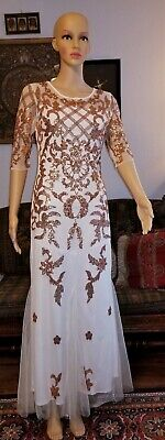 White Nightgown Halloween (Vintage Lined White Ivory Poly Net Gold Sequin Gown Red Carpet Halloween)