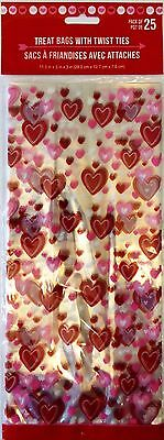 Valentine's Day ~ 25 Treat Bags w/ Ties Party Treat Goody Plastic Bags ~Red/Pink - Valentine Goodie Bags