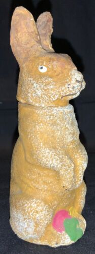 PRIMITIVE EASTER BUNNY CANDY CONTAINER - BROWN RABBIT
