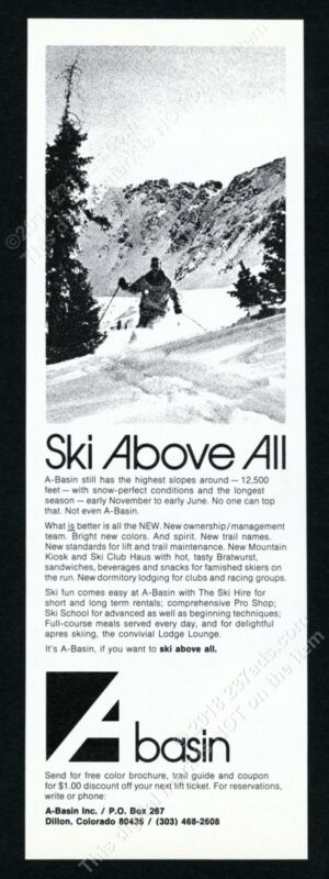 1971 A-Basin Araphaoe Basin ski area Colorado skier skiing photo print ad