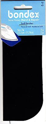 "BONDEX 2 PIECES BLACK TWILL 5"" x 7"" IRON ON MENDING PATCHES, NO SEW, REPAIR"