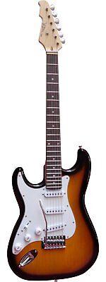Guitare Electrique Strato pour Gaucher  ~ Avec Vibrato Et Câble (Sunburst)