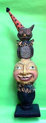 """Bethany Lowe Halloween Owl standing on Moon retired paper mâché decoration 17"""""""