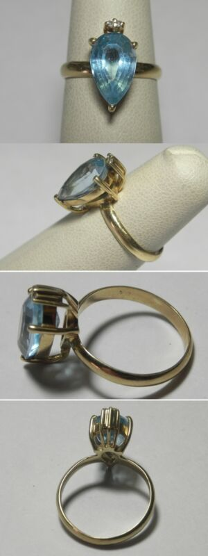 C1083 Vintage 14K Solid Yellow Gold Pear Cut Sky Blue Topaz Ring, Size 5.75