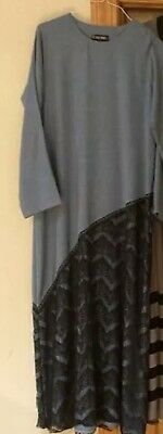 Blue Abaya With Black Lace Modest Size 8-10