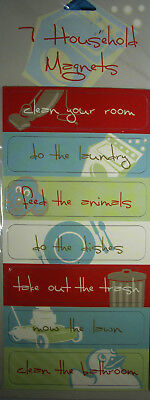NEW 7 pc HOUSEHOLD MAGNETS - Chores Do the Dishes Clean Your Room  STUDIO 18