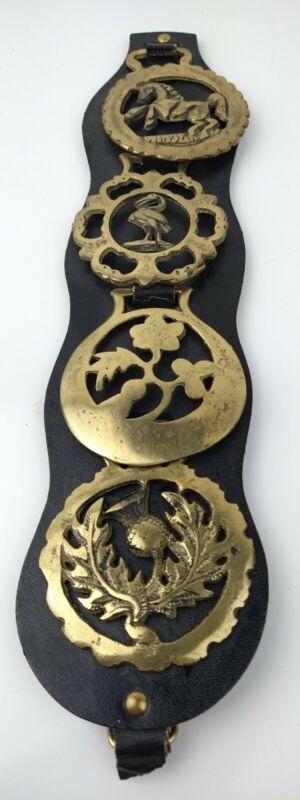 Vintage Horse Brass Harness Medallion - 4 Fine Thistle