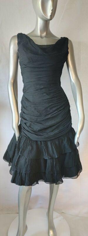 Vintage 80s Formal Prom/Wedding Bodycon Dress Black Size 10 Small