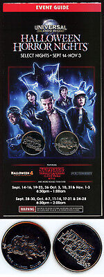 UNIVERSAL HALLOWEEN HORROR NIGHTS 28 2018 Map & 5 Coins / Game Tokens