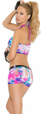Top Booty Shorts (Neon Tie Dye Cami Top w/Booty Shorts Exotic Woman Adult Clothing )