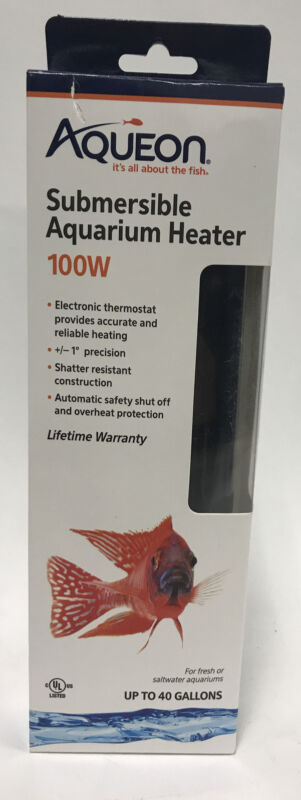 NEW Aqueon Submersible Aquarium Heater 100w Up to 40 Gallons Fresh Saltwater