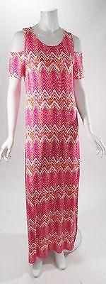 Design History Off The Shoulder Pink Chevron Maxi Dress Sz S, M , L, XL NWT (Chevron Dress Pink)