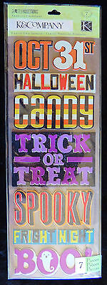 K Halloween Crafts (K&Company 7pc Chipboard Ashesive Halloween Stickers Trick Treat Spooky Boo!)