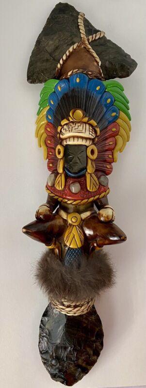 Azrec Mayan Axe Knife Folk Art Sacrificial Obsidian Rain Stick