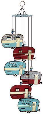 "20"" RV TRAILER  WIND CHIME VINTAGE GALVANIZED METAL HAPPY CAMPER CAMPSITE GARDEN"