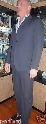 QViesse Classic Italian tailored black white pinstripe suit 52L $1199 - White Tailored Suit