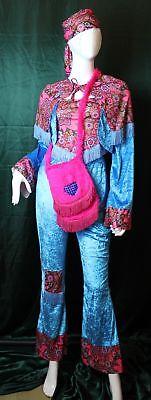 Kostüm Hippie Jane - blau weiblich Größe 38 / 40 ()