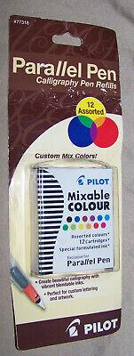 New Pilot Parallel Pen Refills - Mixable Colour Cartridges Assorted 12 Pack