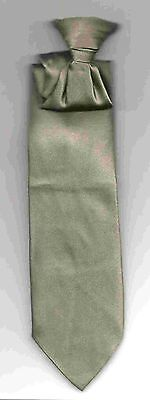(Tie, Clip-On SHORT SKINNY Solid Pewter Gray Satin Stylish Formal Youth)