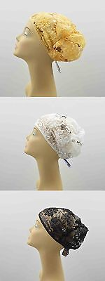 Daisy Sequin lace Beanie Hat Bun Cap Skull Cap Knit Hat Brand New USA seller