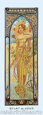 5 Prints Alphonse Mucha Art Nouveau Times of Day Night Waking Evening Rest NEW