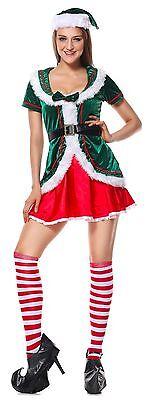 Lady Elf Costumes (Sexy Adult Elf Womens Santa Ladies Costume Complete Dress Sz M-XL Red)