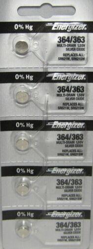 5 X PC Fresh ENERGIZER Silver Oxide WATCH Battery 1.55v CR 364 363 SR621 SR621SW
