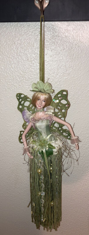"""Vtg 90s Hanging 12"""" Green Nature Fairy Pixie Faerie Blonde Movable Arms 1990s"""