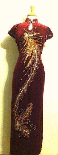 Traditional Chinese Cheongsam Qipao Dress with Pheonix Tail/peacock  Design