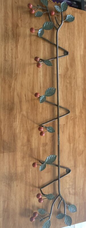 """42"""" Cherries and Branches Metal Plate Rack Holds 3 Plates Cottage Kitsch"""