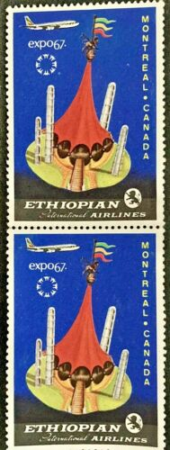 VINTAGE Canada Expo 67 Ethiopian Airlines Stamp(s) Mint Pair