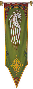 Rohan Banner - Lord of the Rings Official Flag - Replica 56x196cm with Wood